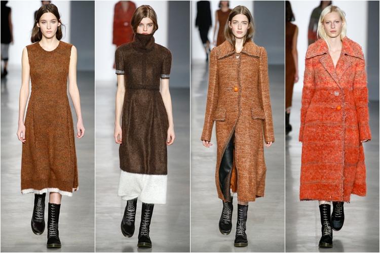 коричневые платья и пальто коллекция calvin klein collection осень-зима 2014-2015