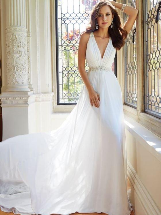 Греческие свадебные платья 2017-2018: лёгкое классическое шёлковое