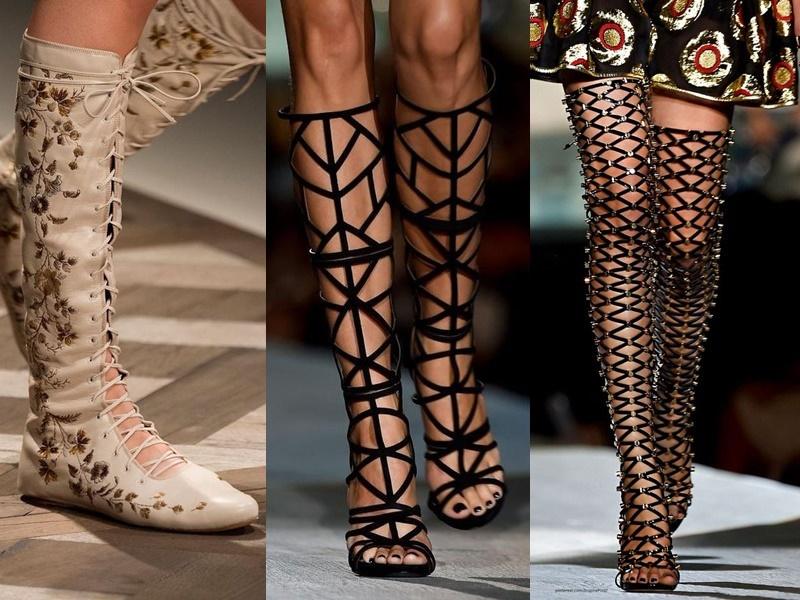 Антитренды в женской обуви 2021-2021 - сапоги римские в сетку