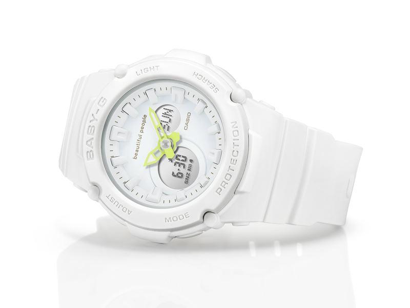 Новинка Casio: часы BABY-G × beautiful people в белом цвете с неоновыми стрелками