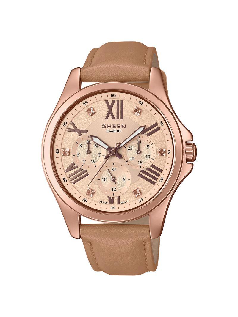 женские наручные часы Sheen (Casio) в кофейных оттенках - SHE-3806GL-9AUER