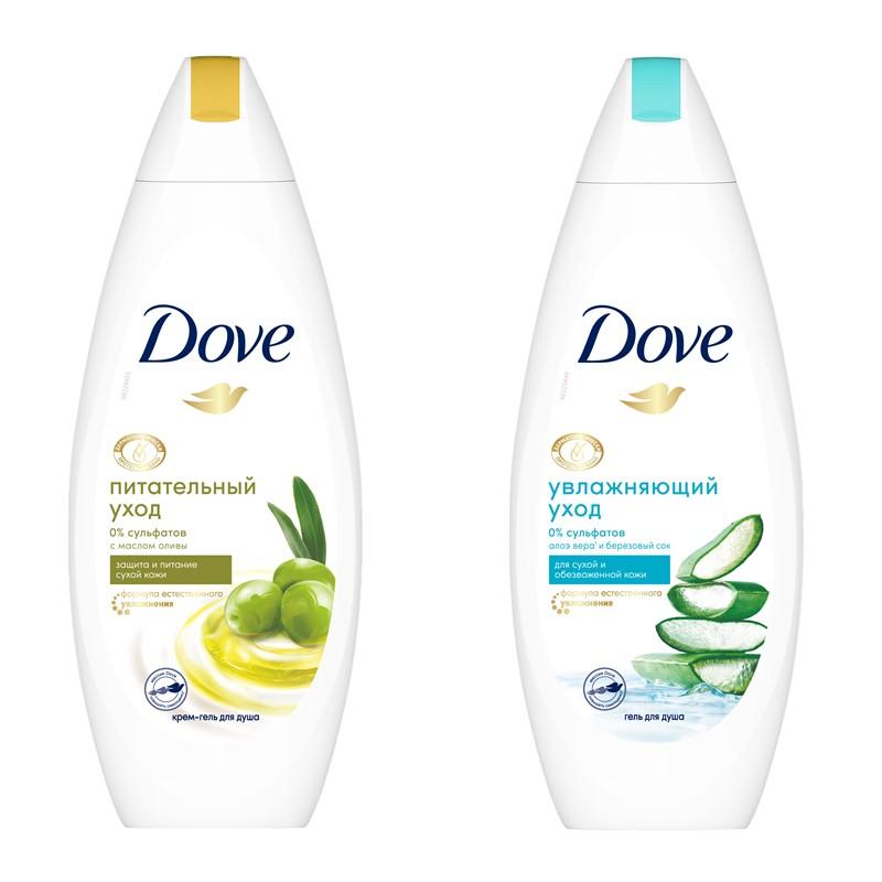 Новые гели для душа Dove с маслом оливы и алоэ