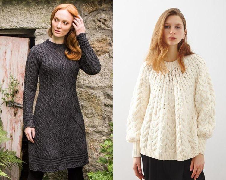 Ирландский свитер - трикотажное платье и блузка