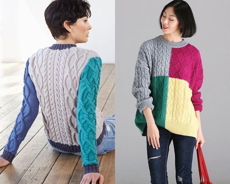 Ирландский свитер - яркие контрастные цвета