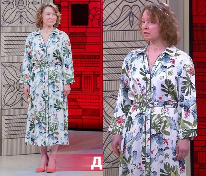 «Модный приговор», Елена (48 лет) - Длинное платье-рубашка с принтом