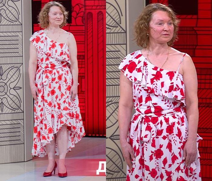 «Модный приговор», Елена (48 лет) - Асимметричный сарафан с воланами