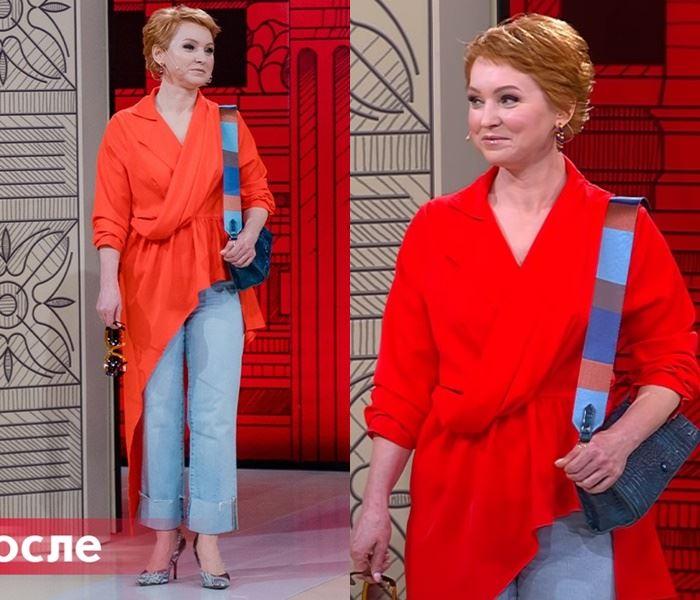 «Модный приговор», Елена (48 лет) - Асимметричная красная блузка с джинсами