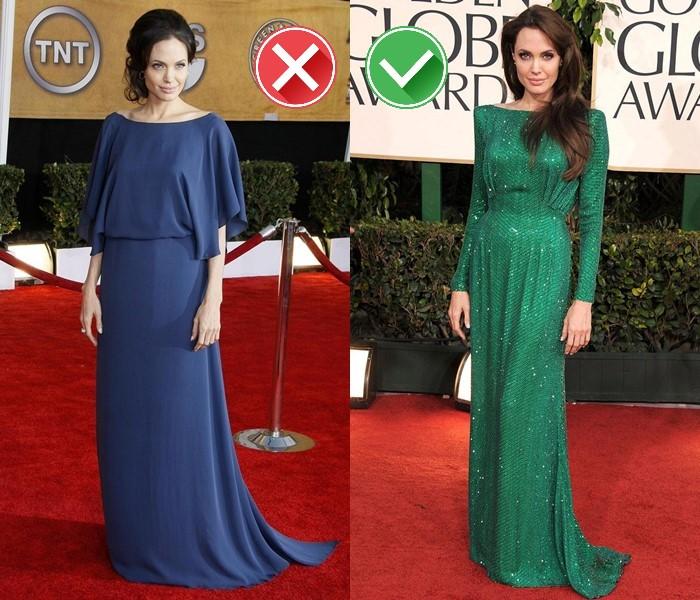 Неудачные платья Анджелины Джоли - синее и зелёное платье