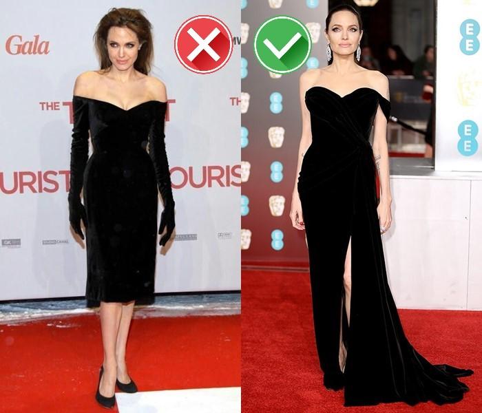 Неудачные платья Анджелины Джоли - Чёрное бархатное платье в стиле 50-х