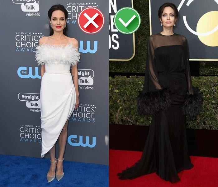 Неудачные платья Анджелины Джоли - белое и чёрное платье с перьевой отделкой