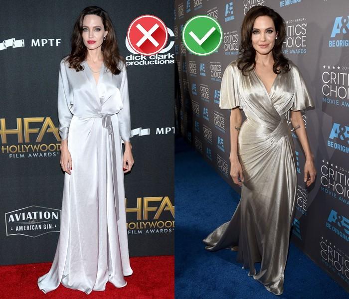 Неудачные платья Анджелины Джоли - Жемчужное платье-халат