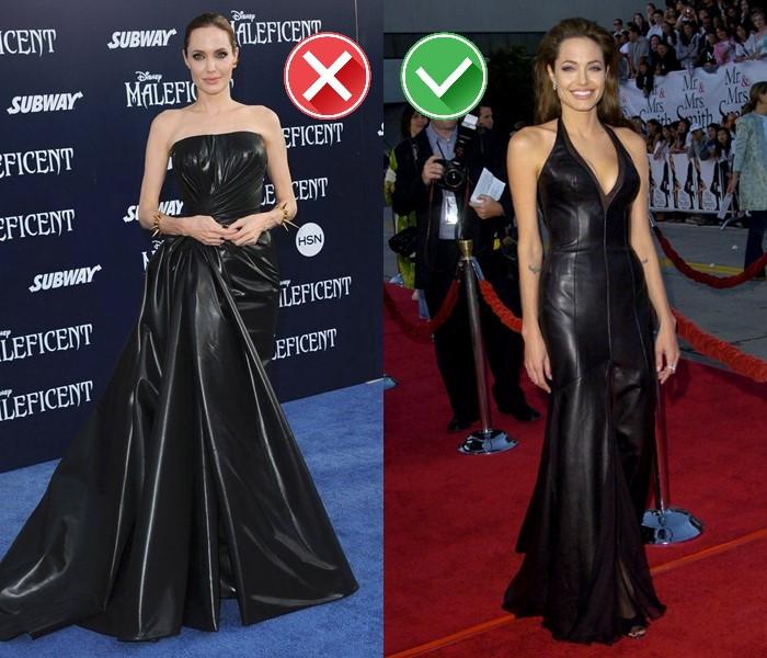 Неудачные платья Анджелины Джоли - кожаные платья