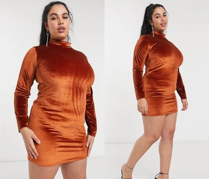 Мода для полных ASOS - Короткое бархатное платье-водолазка
