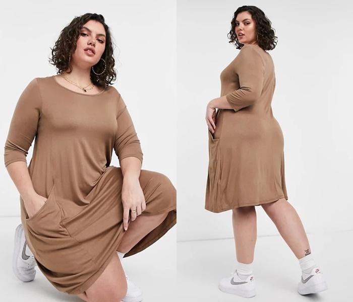 Мода для полных ASOS - Бежевое мини-платье из тонкого трикотажа