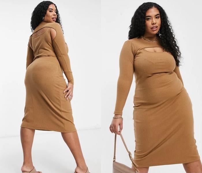 Мода для полных ASOS - Облегающее трикотажное платье миди с высокой горловиной и вырезами