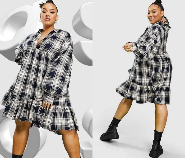 Мода для полных ASOS - Короткое платье-рубашка в темно-синюю клетку
