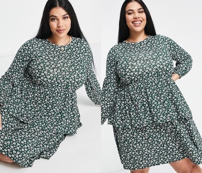 Мода для полных ASOS - Короткое платье с баской и винтажным цветочным принтом
