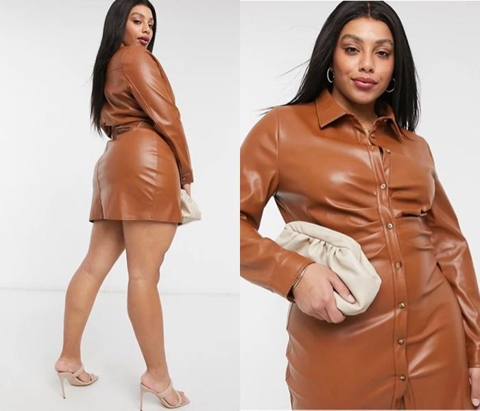 Мода для полных ASOS - Короткое бежевое платье-рубашка из искусственной кожи