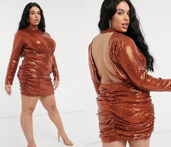 Мода для полных ASOS - Мода для полных ASOS - Короткое бежевое платье-рубашка из искусственной кожи