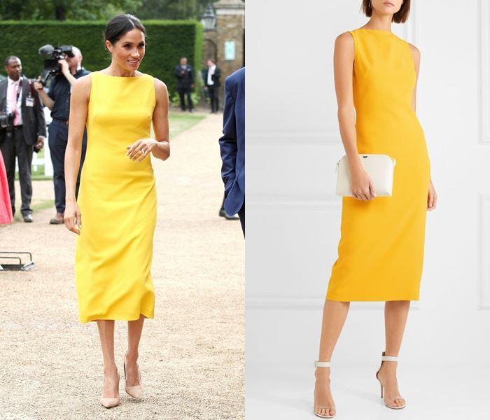 Самые дорогие наряды Меган Маркл - Жёлтое платье-футляр от Brandon Maxwell