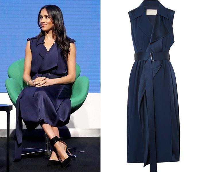 Самые дорогие наряды Меган Маркл - Тёмно-синее платье на запах от Jason Wu