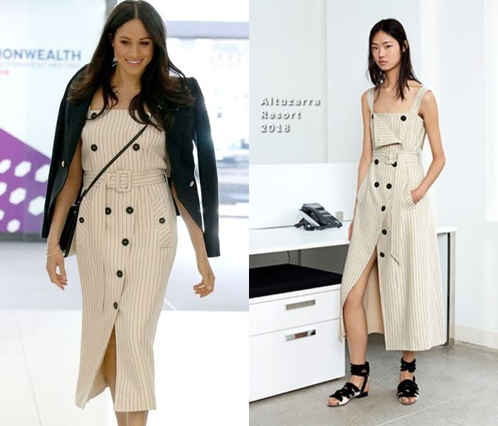 Самые дорогие наряды Меган Маркл - Платье в тонкую полоску от Altuzarra