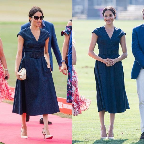 Самые дорогие наряды Меган Маркл - Джинсовое платье в ретро-стиле от Carolina Herrera