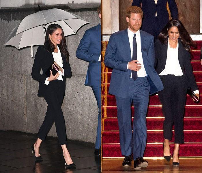 Самые дорогие наряды Меган Маркл - Брючный костюм от Alexander McQueen