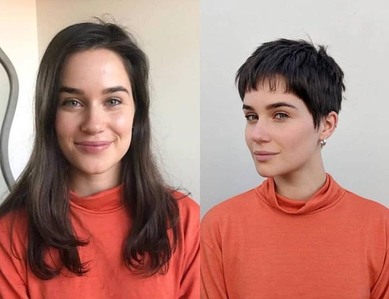 Короткие стрижки вместо длинных волос - графичная стрижка