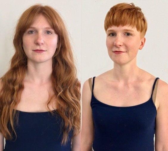 Короткие стрижки вместо длинных волос - горшок