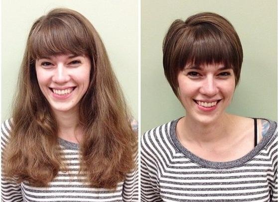 Короткие стрижки вместо длинных волос - удлиненная графичная