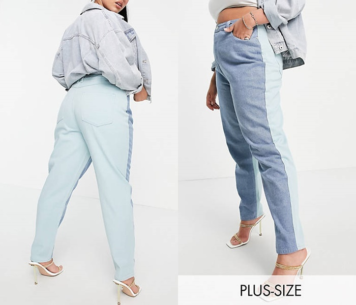 Джинсы для полных из каталога ASOS - Голубые джинсы в стиле колор блок