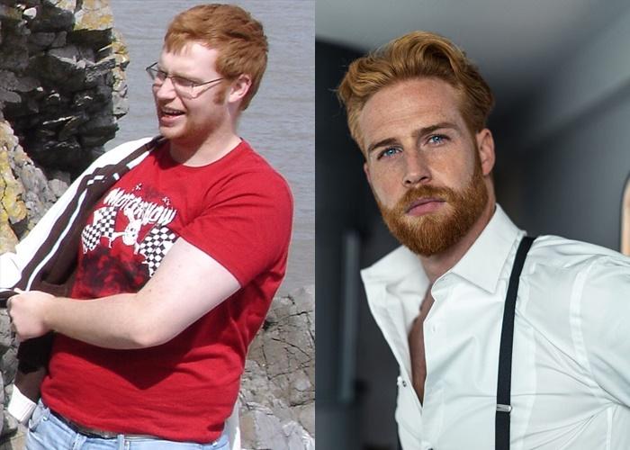 Гвилим Пью похудел на 45 кг и стал моделью - до в футболке и после в рубашке
