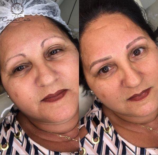 Микроблейдинг и татуаж женщины 50+ - тонкие изогнутые брови