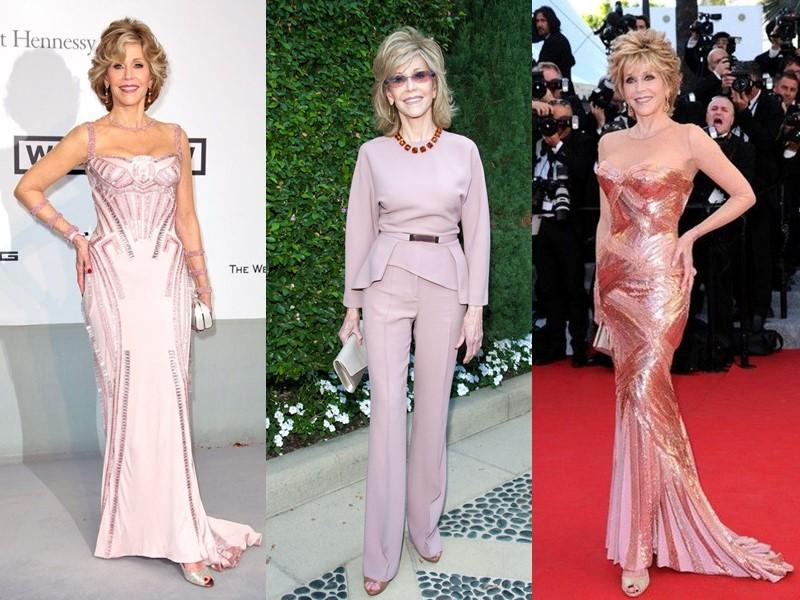 Как Джейн Фонда в 80+ носит розовый - бледные оттенки