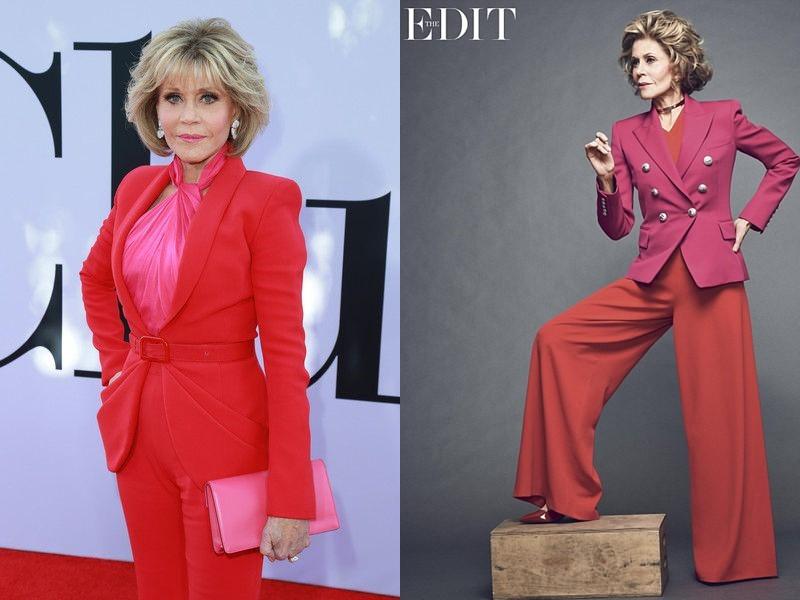 Как Джейн Фонда в 80+ носит розовый - брючные костюмы
