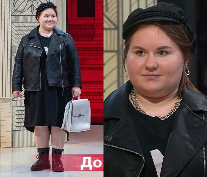 Модный приговор, Ксения, 21 год, 56 размер - Платье «кокон» с кожаной курткой-косухой