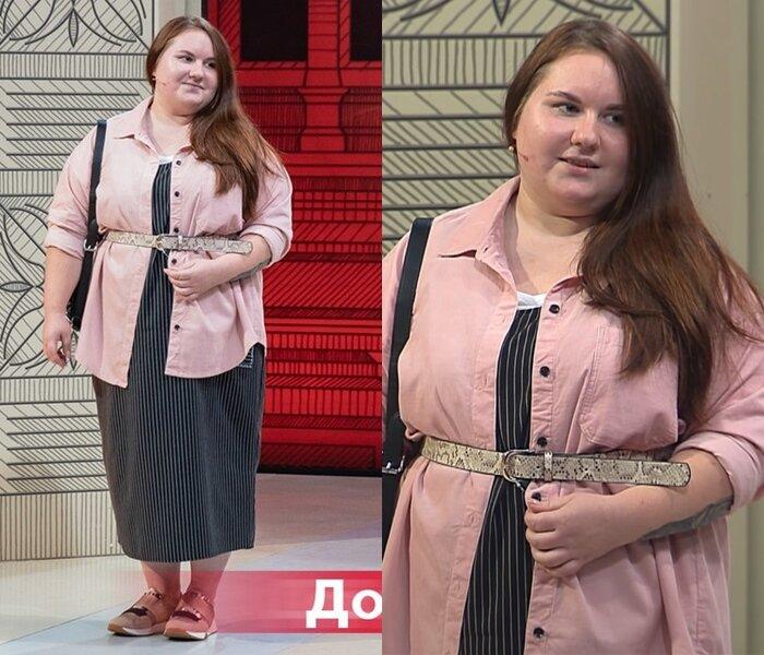 Модный приговор, Ксения, 21 год, 56 размер - Платье в тонкую полоску с розовой рубашкой