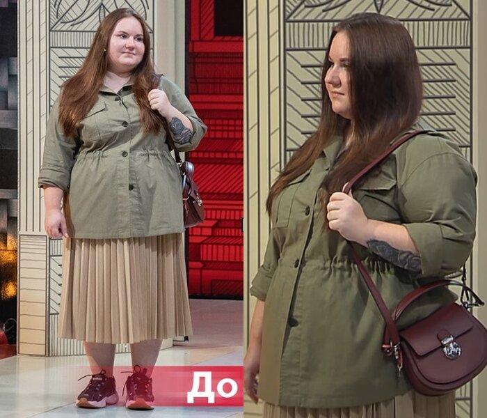 Модный приговор, Ксения, 21 год, 56 размер - Приталенная рубашка хаки и бежевая плиссированная юбка