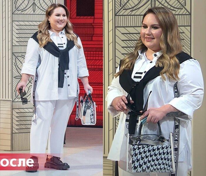 Модный приговор, Ксения, 21 год, 56 размер - Белый брючный комплект с чёрными акцентами