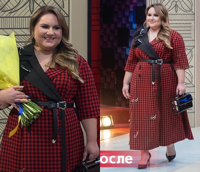 Модный приговор, Ксения, 21 год, 56 размер - Платье на запах в чёрно-красную клетку