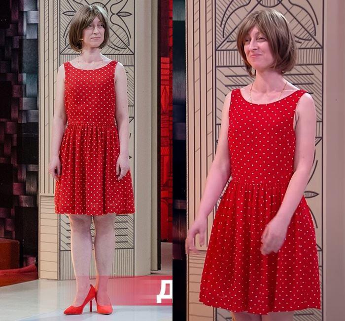 «Модный приговор» - преображение Марины - Красное платье бэбидолл в горошек