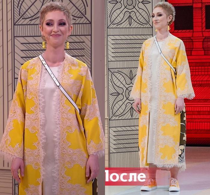 «Модный приговор» - преображение Марины - Шёлковое платье и пальто с кружевной аппликацией