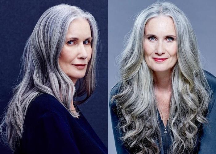 Зрелые модели с длинными седыми волосами - Никола Гриффин