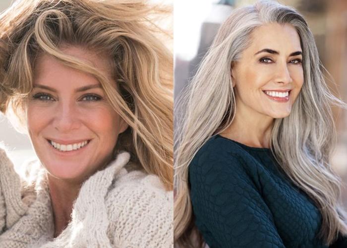 Зрелые модели с длинными седыми волосами - Манон Креспи