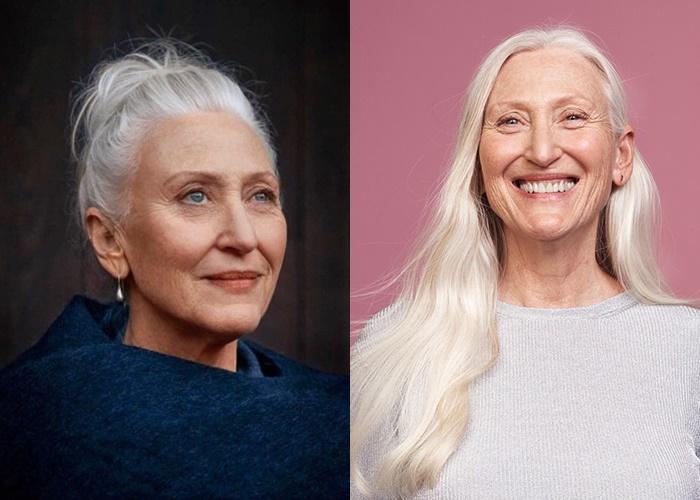 Зрелые модели с длинными седыми волосами - Джиллиан Маклауд