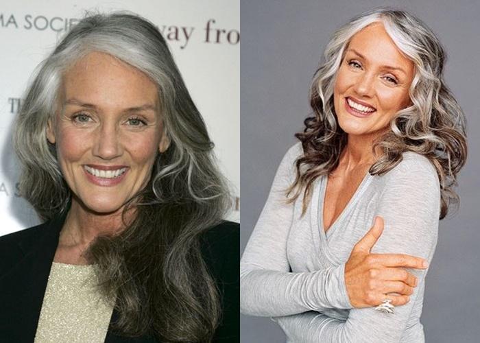 Зрелые модели с длинными седыми волосами - Синди Джозеф