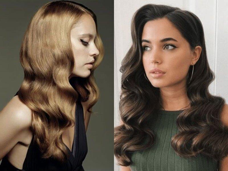 Модные причёски 2021 - Крупные волны в стиле ретро на длинных волосах
