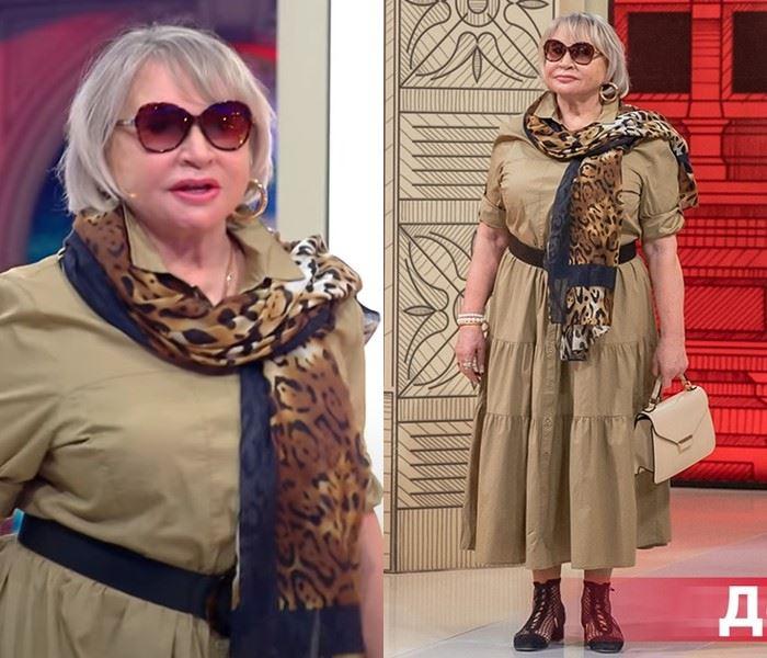 Модный приговор - Надежда, 72 года - Бежевое платье с ярусами и леопардовый шарф