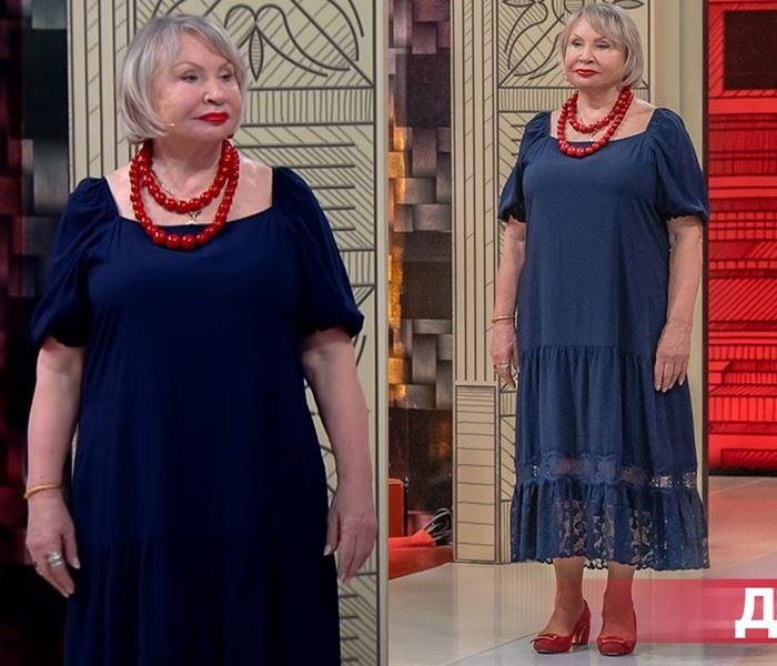 Модный приговор - Надежда, 72 года - Синее платье с гипюровой отделкой и крупными красными бусами